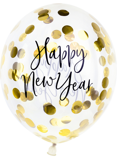 3 x Happy New Year בלונים קונפטי (30 ס