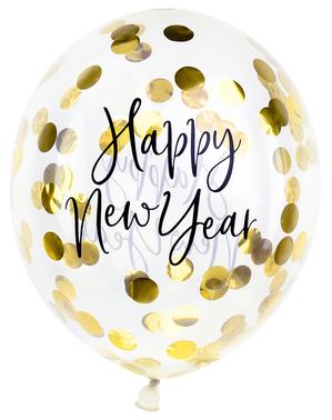 3 x Happy New Year ballonger med konfetti (30cm) - Jolly New Year