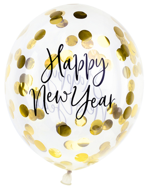 3 x Happy New Year Confetti Balloons (30cm) - Jolly New Year