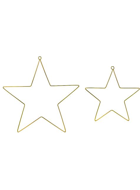 2 zlaté kovové dekorativní hvězdy