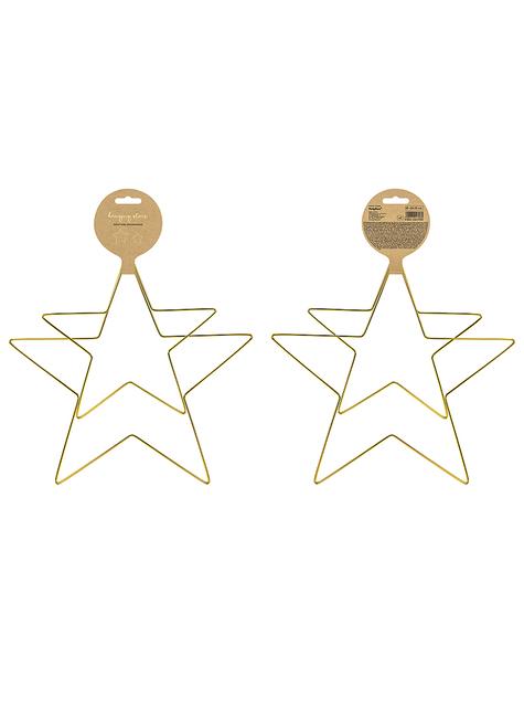 2 dekorative stjerner af gyldent metal - billige