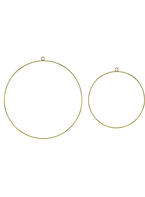 2 aros decorativos de metal dorados