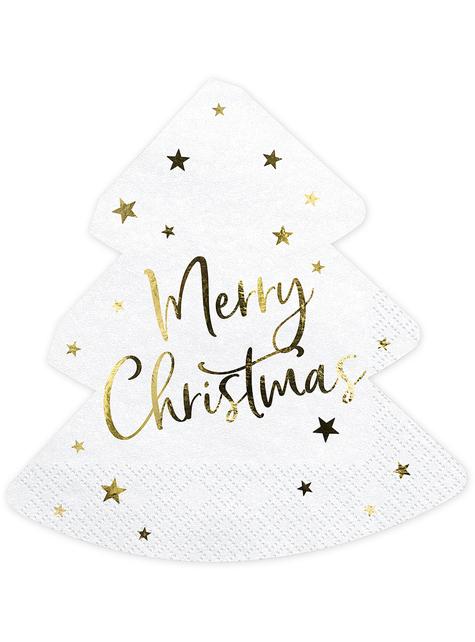20 Merry Christmas Weihnachts Servietten in Baumform (16 x 16,5 cm)