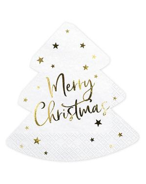 20 guardanapos natalícios Merry Christmas com forma de árvore (16 x 16,5 cm)