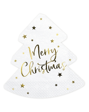 20 Merry Christmas tree-shaped napkins (16 x 16.5 cm)