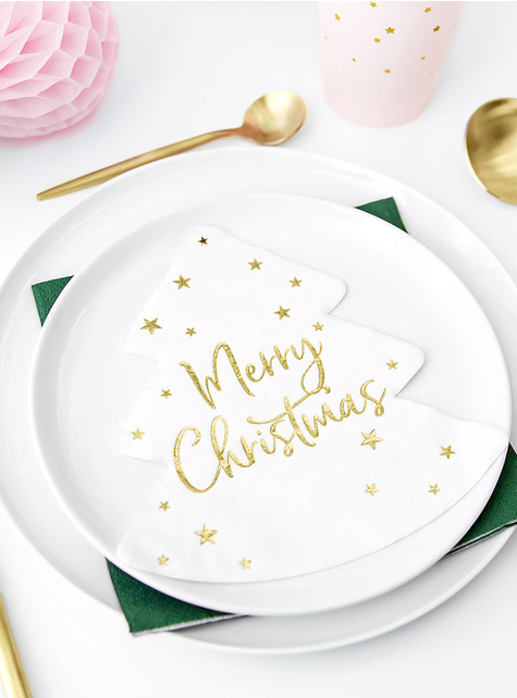 20 guardanapos natalícios Merry Christmas com forma de árvore (16 x 16,5 cm) - para as tuas festas
