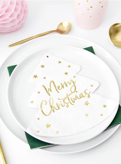 20 Serviettes en papier de noël Merry Christmas en forme de sapin x 16,5 cm) - pour vos fêtes