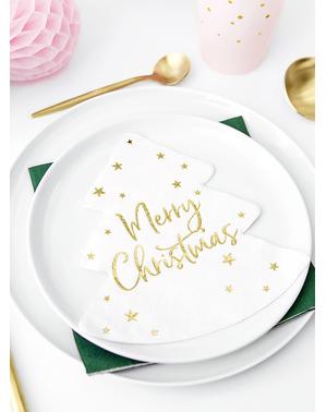 20 servítok Merry Christmas v tvare vianočného stromčeka (16 x 16,5 cm)