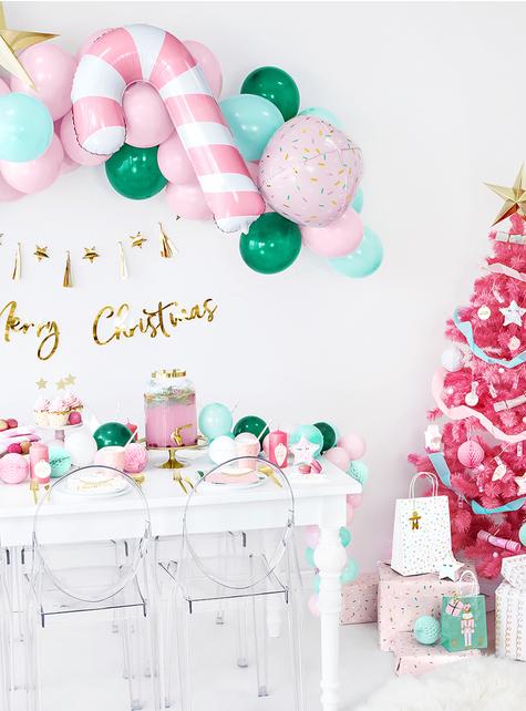 20 tovaglioli natalizi Merry Christmas a forma di albero di Natale (16x16,5 cm) - economico