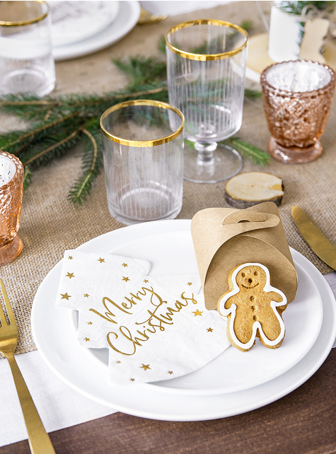 20 Merry Christmas Weihnachts Servietten in Baumform (16 x 16,5 cm) - kaufen