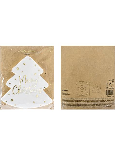 20 guardanapos natalícios Merry Christmas com forma de árvore (16 x 16,5 cm) - original