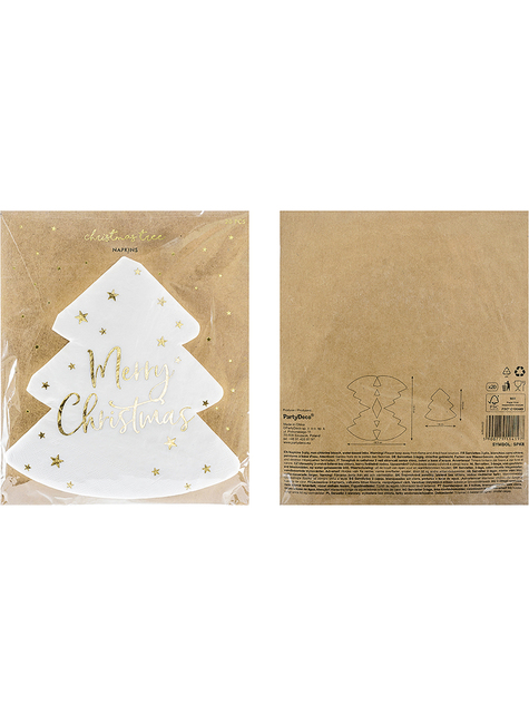 20 Merry Christmas tree-shaped napkins (16 x 16.5 cm) - funny