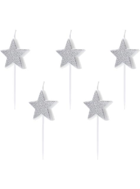 5 candele a forma di stelle con glitter argentate