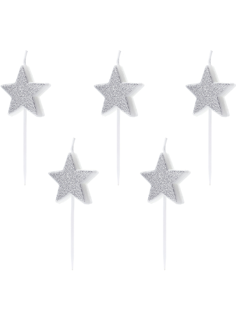 5 glitter star candles in silver