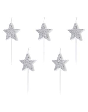 5 velas de estrellas con purpurina plateadas