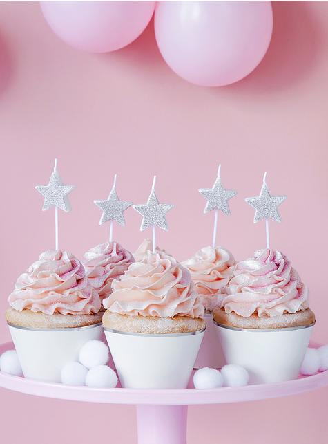 5 candele a forma di stelle con glitter argentate - per le tue feste