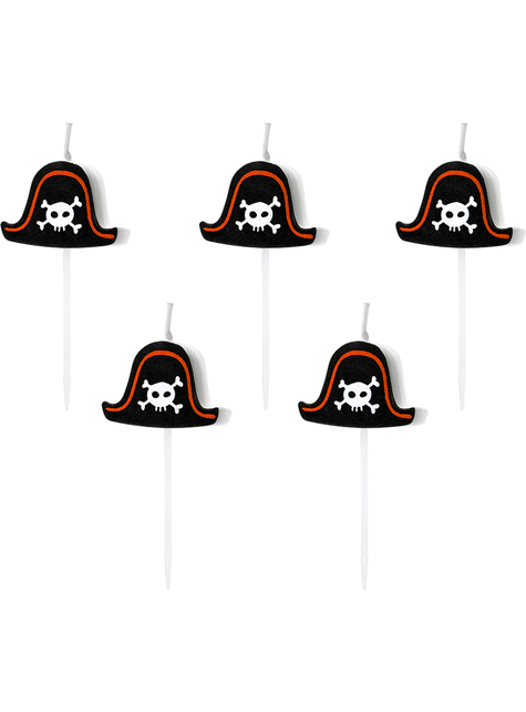 5 candele per festa a tema pirati - Pirate Party