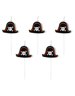 5 candele per festa a tema pirati - Pirate Party
