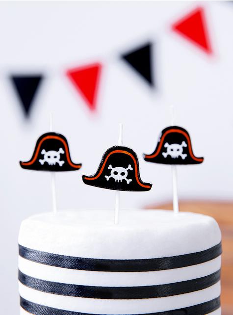 5 Piratenparty Kerzen - Pirates Party - für Mottopartys