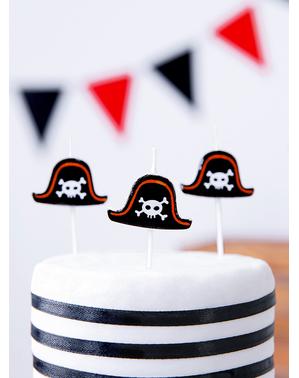 5 stearinljus för piratfest - Pirates Party
