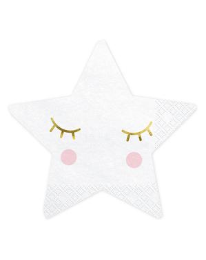 20 stjerneformede servietter - Unicorn Collection