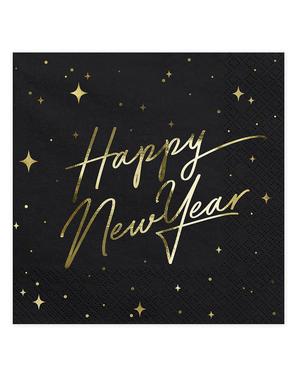 20 șervețele pentru Revelion Happy New Year negre și aurii (33 x 33 cm) - New Year's Eve Collection