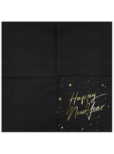 20 servilletas Fin de Año Happy New Year negras y doradas (33 x 33 cm) - New Year's Eve Collection