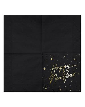 20 servítok Happy New Year v čiernej a zlatej farbe (33 x 33 cm) - New Year's Eve Collection