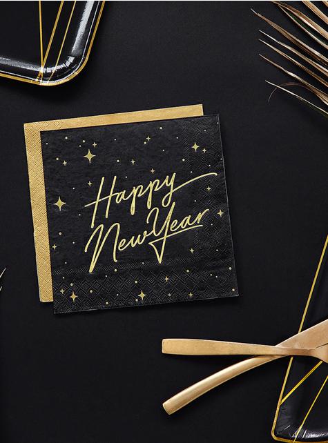 20 Silvester Happy New Year Servietten schwarz-gold (33x33 cm) - Jolly New Year
