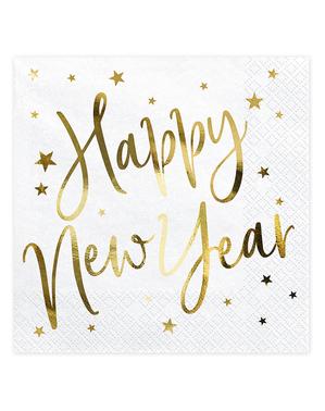 20 șervețele de Revelion Happy New Year albe și aurii (33 x 33 cm) - Jolly New Year