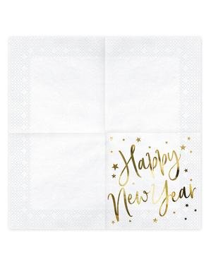 20 guardanapos Fim de Ano Happy New Year brancos e dourados (33 x 33 cm) - Jolly New Year