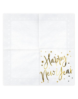20 Serviettes en papier Nouvel An Happy New Year blanches et dorées (33 x 33 cm) - Jolly New Year
