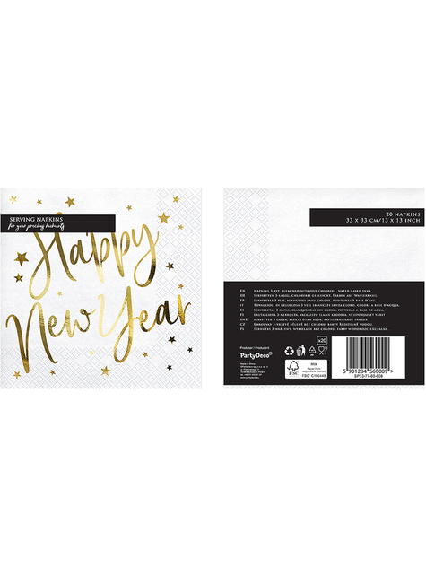 20 servilletas Fin de Año Happy New Year blancas y doradas (33 x 33 cm) - Jolly New Year