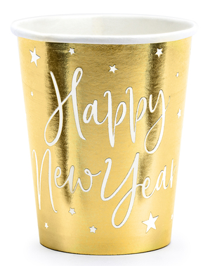 6 Happy New Year New Year's Eve golden glasses - Jolly New Year