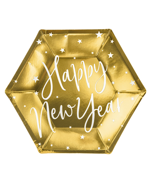 6 Happy New Year Silvester Pappteller gold (20 cm) - Jolly New Year