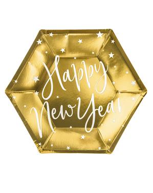 6 Srebrne novogodišnje zlatne ploče (20 cm) - Jolly Nova godina