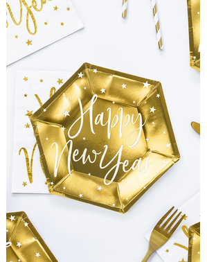 6 platos Fin de Año Happy New Year dorados (20 cm) - Jolly New Year