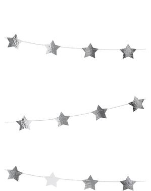 Girlang med stjärnor silverfärgad (3,6 m)