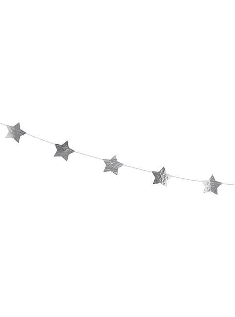 Guirnalda con estrellas plateadas (3,6 m)