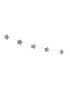 Garland with silver stars (3.6 m)