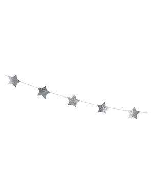Girlande mit silber Sternen (3,6 m)