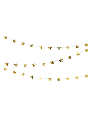 Girlang med stjärnor guldfärgad (3,6 m)