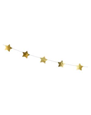 Guirnalda con estrellas doradas (3,6 m)