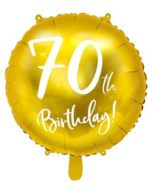 Ballon 70 th Birthday doré (45 cm)