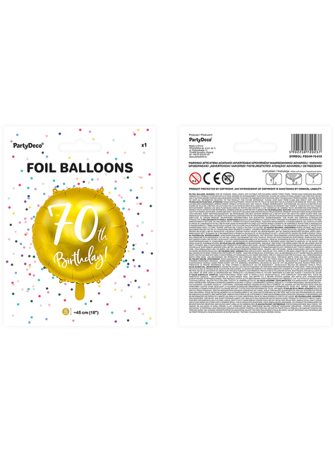 70th Birthday Luftballon gold (45 cm) - kaufen