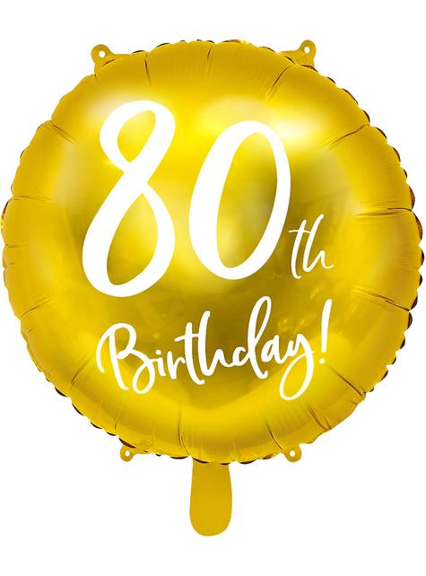 80th Birthday Luftballon gold (45 cm)