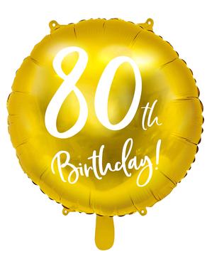 Ballon 80 th Birthday doré (45 cm)
