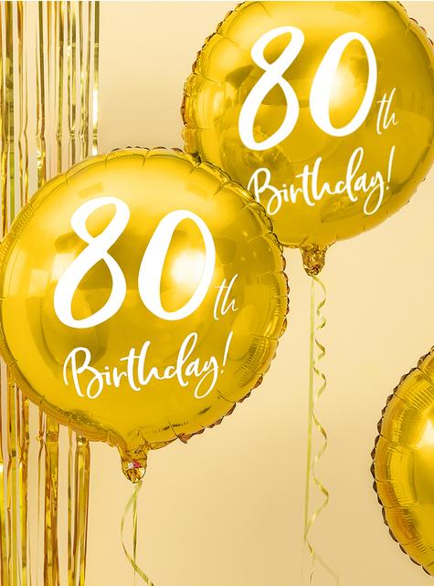 80th Birthday Luftballon gold (45 cm) - für Mottopartys