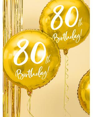 Golden 80th Birthday balloon (45 cm)