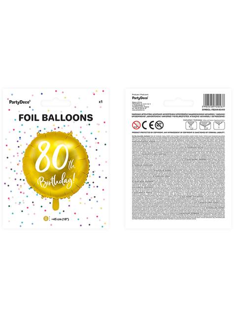 80th Birthday Luftballon gold (45 cm) - kaufen